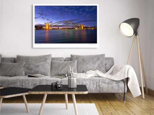 Modern-Gallery-Sydney-SUNSET-BRIDGE-wall-art-photography-by-Michael-Collins-for-Visual-Resource